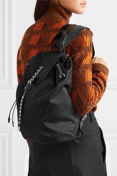 ea019d3d8e5f Prada | Vela studded leather-trimmed shell backpack | NET-A-PORTER.COM