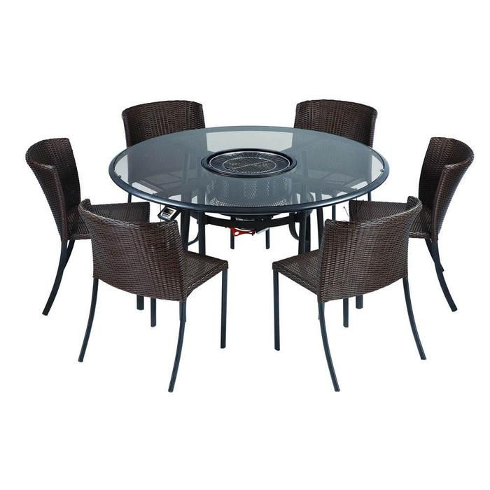 Dining Set With Center Grill And Six Woven Chairs Product Patio Table Built In 6 ChairsConstructio