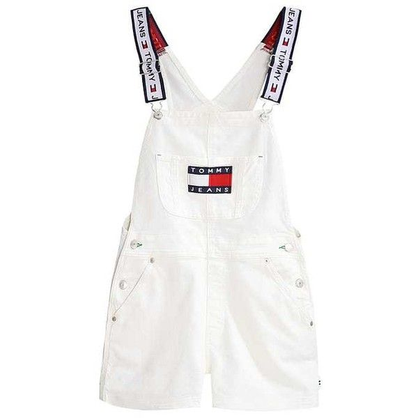 TOMMY JEANS 90S Overall /Buksedragter white denim ZALANDO ❤ liked on Polyvore featuring tommy hilfiger