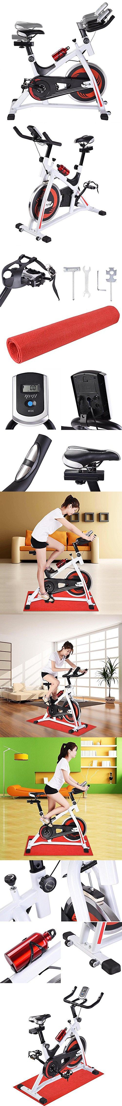 AMPERSAND SHOPS Spin Cycle Class Bike Cardio Fitness Exercise Indoor Training Spinning Cycling Equipment (White)