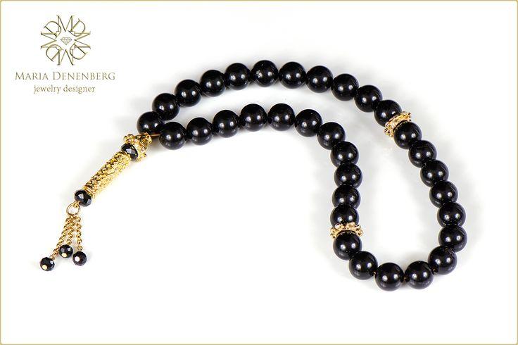 Muslim prayer beads. Black onyx, crystals.  Мусульманские четки. Черный оникс, хрусталь.
