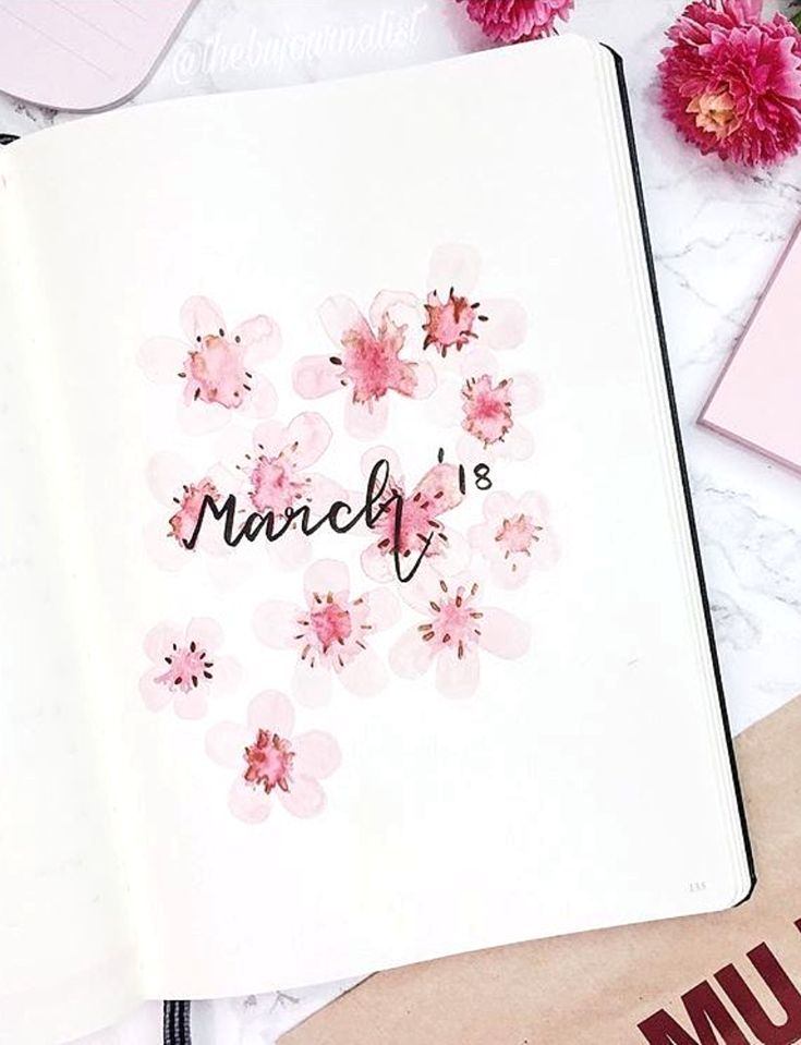Very pretty spring time bullet journal cover by ig@thebujournalist.