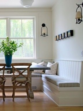 , Captivating Traditional Kitchen With White Built In Bench Seat Also White Bedboard Back Also Wooden Dining Table With Gray Marble Countertop Also Rustic Wooden Dining Chair Also Antique Wall Lights: Interior and Exterior Decoration Idea with Built in Be