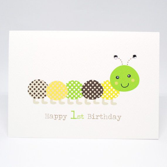 1st Birthday Card Boy  Green and Brown Caterpillar  HBC211 /