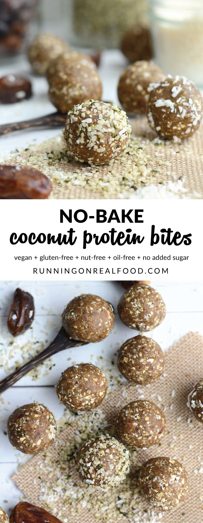 These no-bake coconut protein bites are nut-free, oil-free, gluten-free and taste amazing! They're made with wholesome ingredients like dates, hemp seeds, vegan protein powder and coconut. Blend, roll, eat! Ready in minutes. Great snack, breakfast, dessert or pre-workout!  Recipe: http://runningonrealfood.com/no-bake-coconut-protein-bites/
