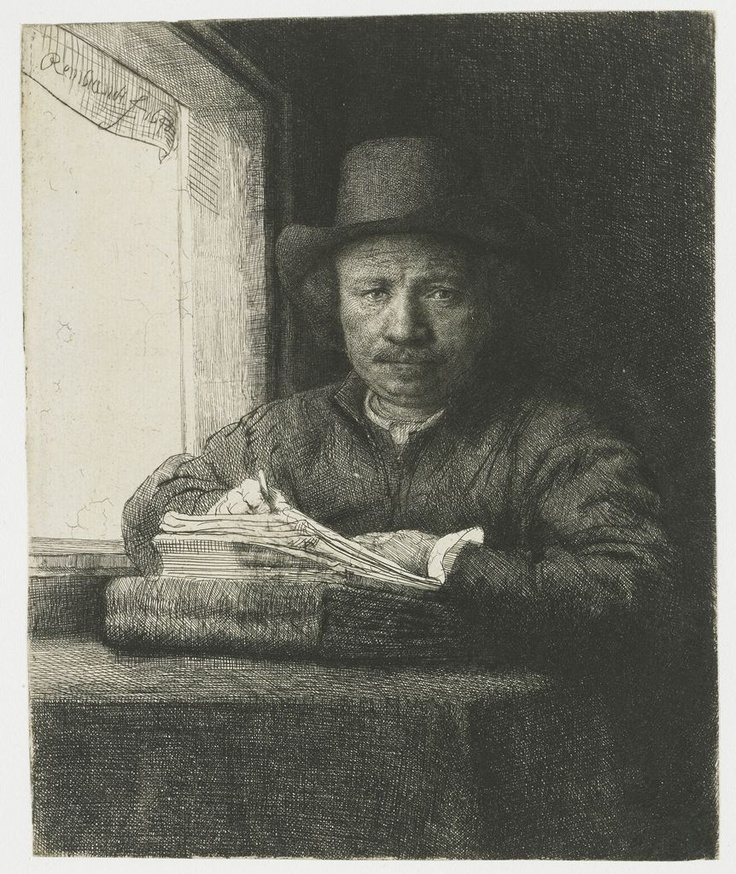 Rembrandt drawing at a window, 1648, Rembrandt Harmensz. van Rijn.