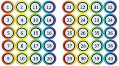 Editable circle labels numbered 1-40 (rainbow colors). Can be used to label student cubbies, coat racks, files, etc.