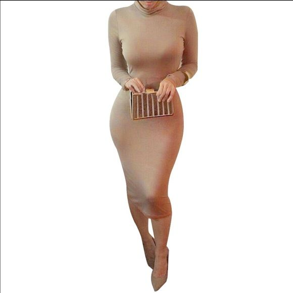 *SOLD*Long sleeve camel bodycon dress New arrival. Size L Super cute cotton blend camel midi dress. Skin tight figure hugging silhouette. No trades. Not brand listed,  just for exposure. Missguided Dresses Midi