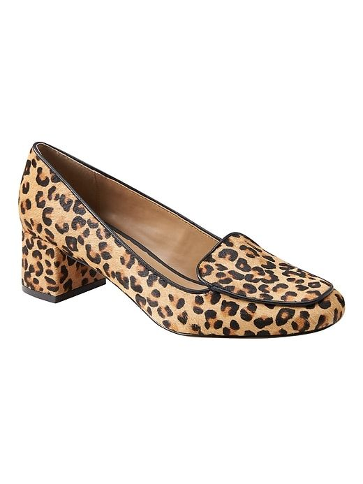 4f4550653f65 Banana Republic Womens Low Block-Heel Smoking Slipper Leopard Print Haircalf