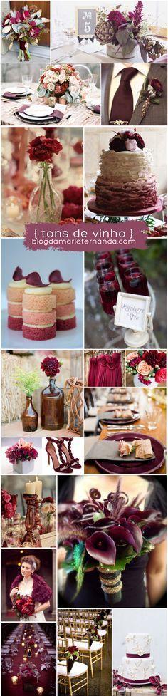 Decoração de Casamento : Paleta de Cores Vinho