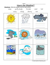 weather vocabulary, weather names worksheet, kinds of weather, weather worksheet, identifying weather, classifying weather