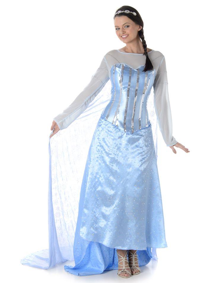 Disfraz reina del hielo mujer: Este disfraz original para mujer es un vestido largo (zapatos y diadema no incluidos).El vestido es de color azul cielo y de tejido satinado. Tiene bandas de lentejuelas plateadas.Las mangas largas...