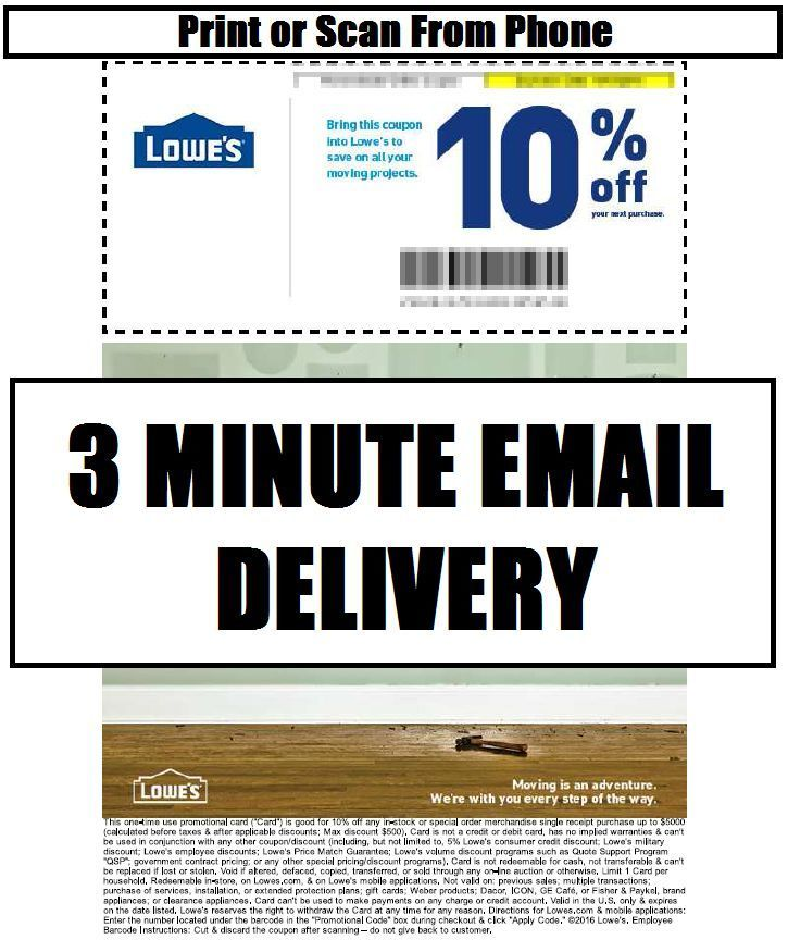 Coupons: Five (5X) Lowes 10% Off Printable-Coupons - In Store Or Online Instant Email BUY IT NOW ONLY: $1.99