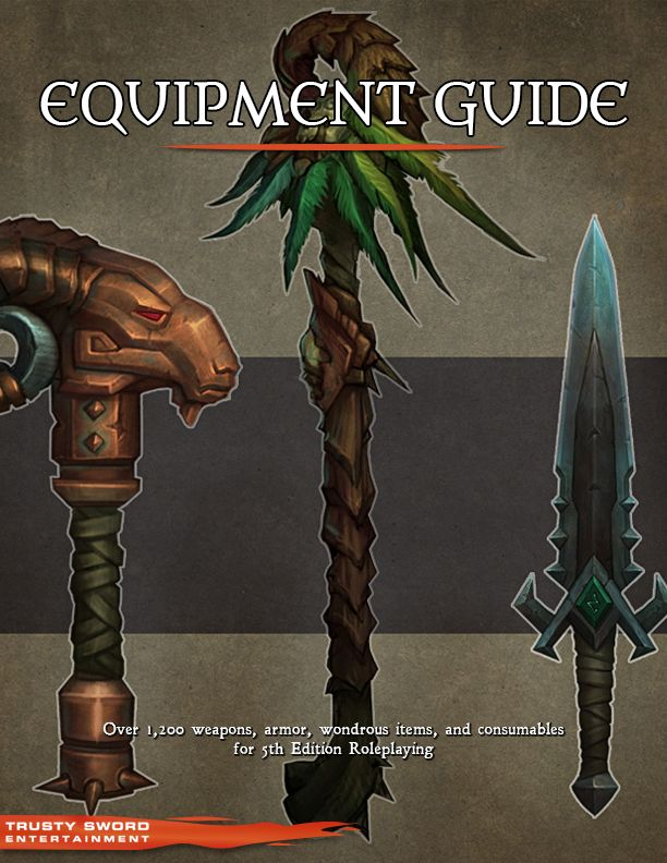 Equipment Guide by trustysword (example book cover for RPG Bard)   Create your own roleplaying game material w/ RPG Bard: www.rpgbard.com   Dungeons and Dragons DND D&D Pathfinder PFRPG Warhammer 40k Fantasy Roleplay WFRP Star Wars Exalted World of Darkness Dragon Age Iron Kingdomes Fate Core System Savage Worlds Shadowrun Call of Cthulhu Dungeon Crawl Classics Traveller Battletech The One Ring Lord of the Rings LoTR d20 OGL fantasy science fiction scifi horror   Trusty Sword