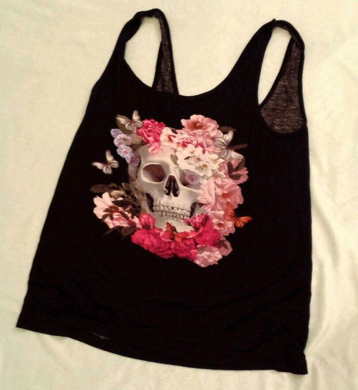 H&M Black Skull Tank with Roses Butterflies Floral Punk Sz 6 Sm Divided Brand #HM #TankCami #Casual
