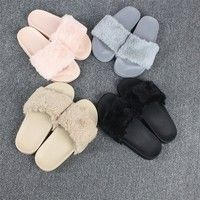Wish | Women Slippers Flock Fashion Spring Summer Autumn Home Plush Slippers Women Faux Fur Slides Flip Flops Flat Shoes