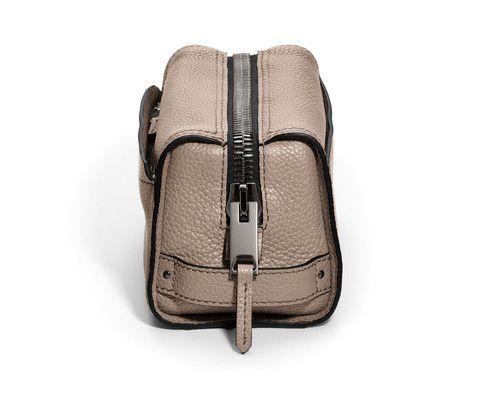GILBANO Leather Wash Bag - Mews - Light Grey