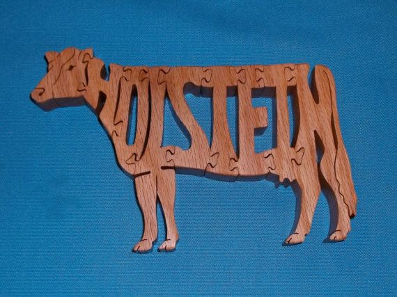Holstein Cow Wooden Scroll Saw Puzzle by huebysscrollsawart, $12.00