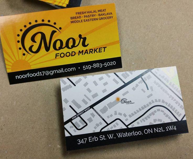 We printed some business cards for Noor Food Market to match the exterior signs we designed & installed.  #branding #design #MoreThanJustSigns #printing #printshop #KWawesome