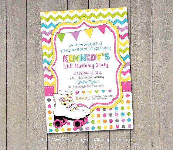 roller skate invite roller skate party invitation roller skate birthday invitation roller skate - Roller Skating Birthday Party Invitations