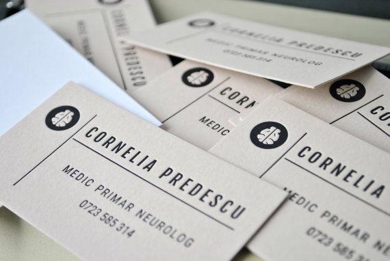 100 Letterpress calling cards light brown card by FunkyPrintStudio