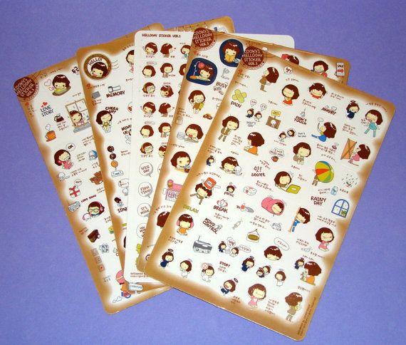 Kawaii Stickers Scrapbooking Cute Korean Girl by PaperElf on Etsy, $3.75