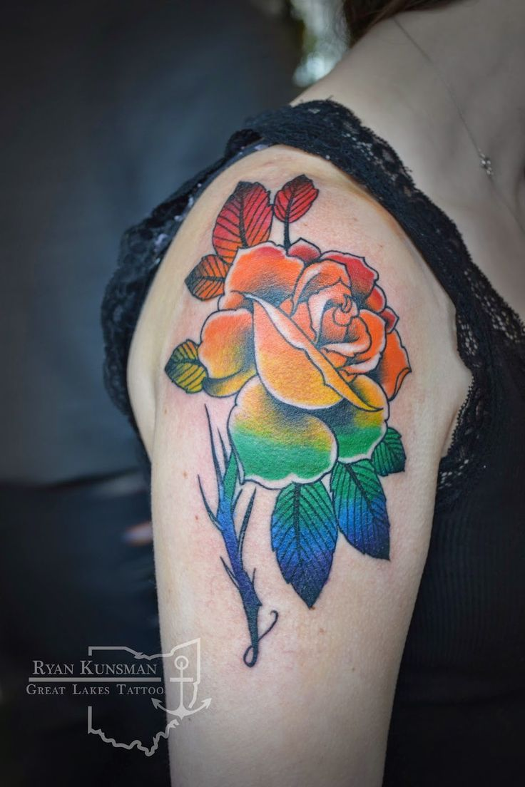 #beautiful #rose tattoo by #ryan at #greatlakestattoo  #tattoosforwomen #for #women #pretty #cool  #tattoos #rose #flowers #gaypride #ohio #ohiotattooshop  beautiful rainbow rose by ryan at great lakes tattoo, madison ohio