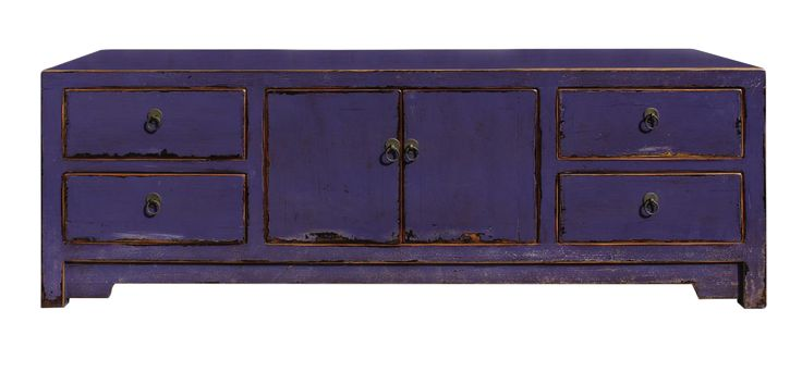 Chinese Distressed Purple Cabinet on Chairish.com