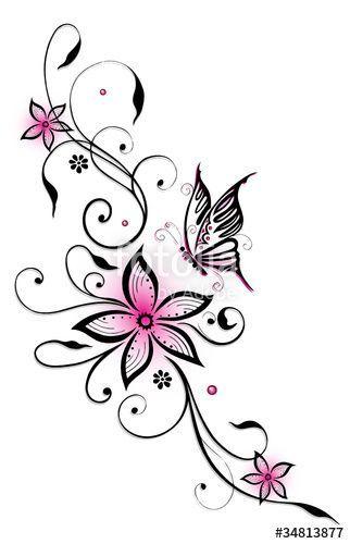 Filigrane Ranke mit Blumen und Schmetterling. Schw… – #Blumen #Filigrane #mit … – Amy