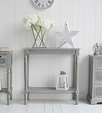 The White Lighthouse grey console and sofa tables for your living room and hallway.. British Colonial Furniture. Small Console Table with Shelf for living and hall