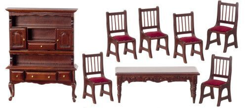 8pc Victorian Dining Room Set - Mahogany with Red