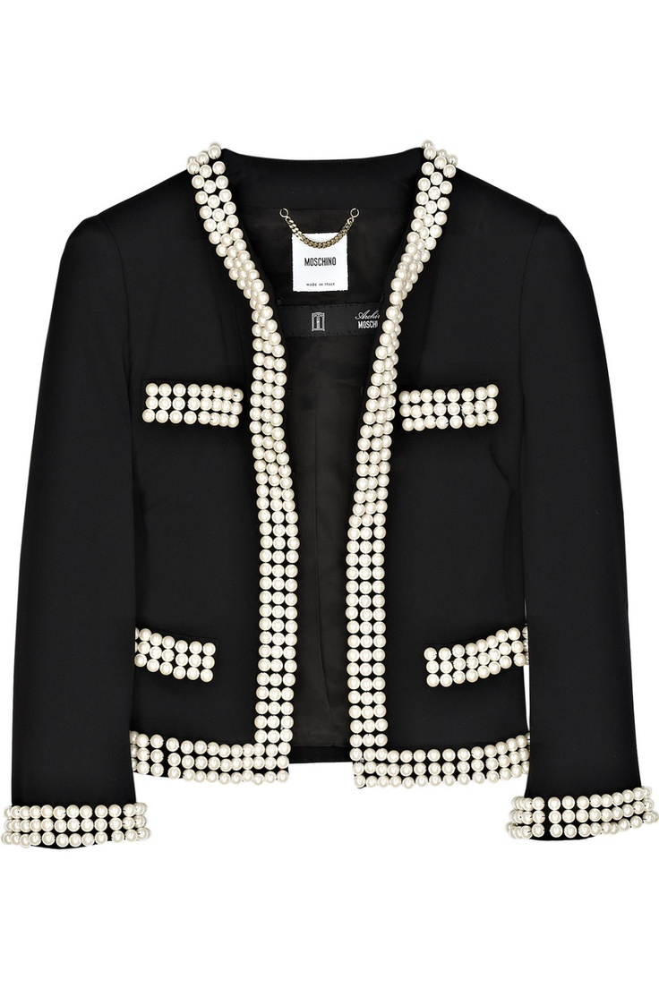 Taken from Moschino's covetable archive range, this collarless black crepe jacket with pearl trim will add elegance to every ensemble. Wear this bracelet-sleeved jacket to upgrade denim with ladylike polish or give tailoring an uptown twist.