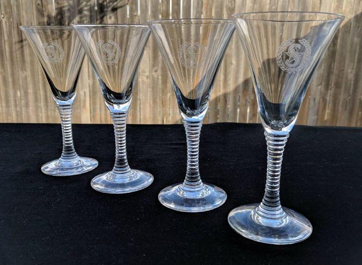 Vintage Shamrock Hotel Houston Texas Four Cocktail Glasses Stemware Beverage #ShamrockHotel