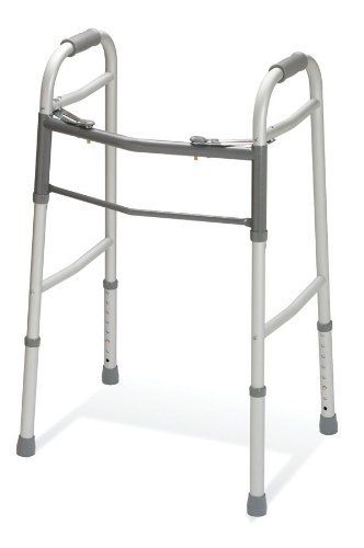 "Medline Two-Button Folding Walkers without Wheels, Adjustable by Medline. $44.06. Walker Height Range : 32""-39""; Product Brand : Guardian. Packaging: 1 EA / EA. Basket Included : No. Weight Capacity : 300. Inside Walker Width : 18"". ? Easy-to-use, push-button mechanisms let walkers fold easily. ? Each side folds independently to allow easy movement through narrow spaces. ? Side cross braces provide extra durability. ? Push-button, height-adjustable legs. ? Height adj..."