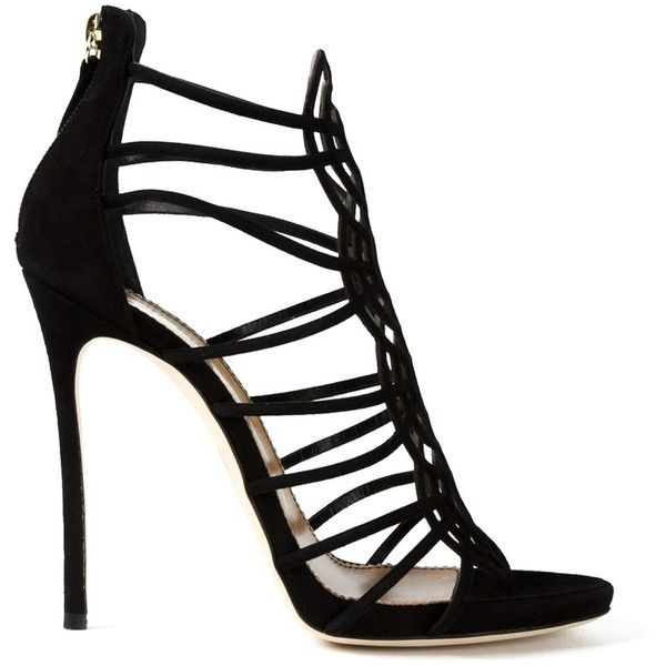 Dsquared2 Strappy Sandals ($767) ❤ liked on Polyvore featuring shoes, sandals, heels, sapatos, black, black strappy sandals, back zip sandals, open toe sandals, black stilettos and heels stilettos