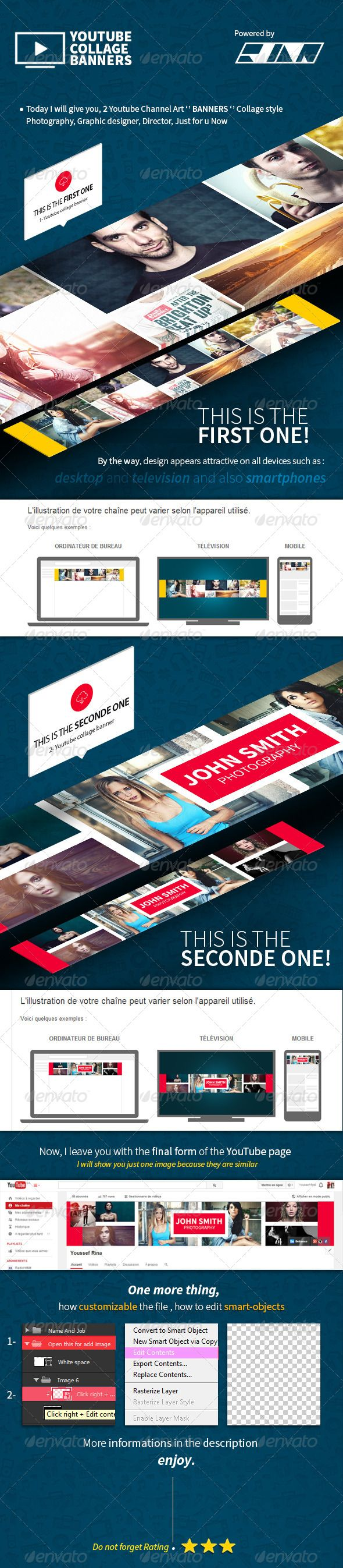 Photoshop poster design youtube - 2 Collage L Youtube Banners