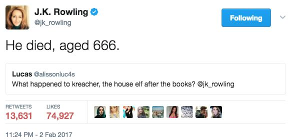 26 Times J K Rowling S Twitter Comebacks Were So Fire They Actually Burned Kreacher Harry Potter Harry Potter Funny Rowling