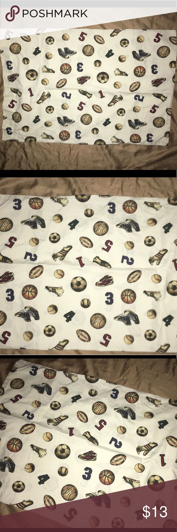 "Whisper soft mills sports themed pillow case Thank you for viewing my listing, for sale is a boys, whisper soft mills brand, 30"" x 20"", sport themed a pillowcase. Pillowcase shows a football, baseball, basketball, soccer ball, as well as numbers and different cleats for the sports  Excellent condition no rips or stains. If you have any questions or would like additional photos please feel free to ask. whisper soft mills Accessories"