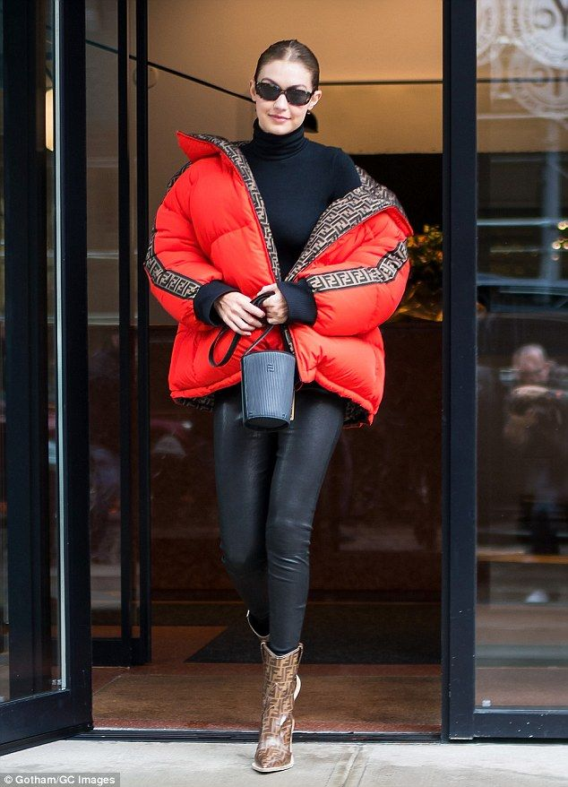 f87d1ae752a Bundled  The 23-year-old Tommy Hilfiger collaborator bundled up in a bright  red Fendi puffer