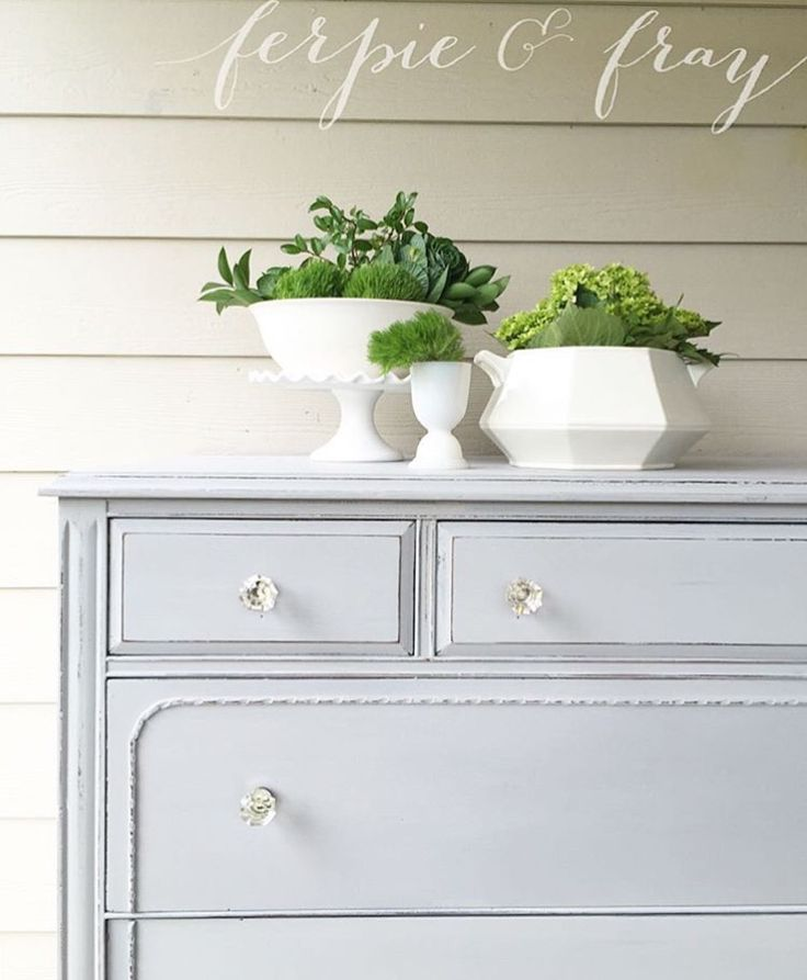 Painted dresser by Amanda of Ferpie and Fray in Oyster Grey by Real Milk Paint…