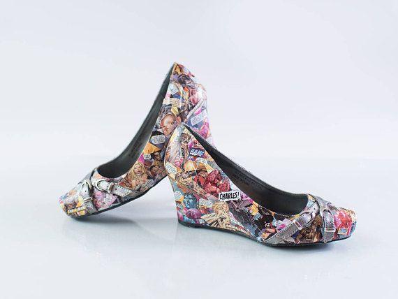 X-Men Comic Shoes OOAK Comic Wedges Marvel Shoes One of a