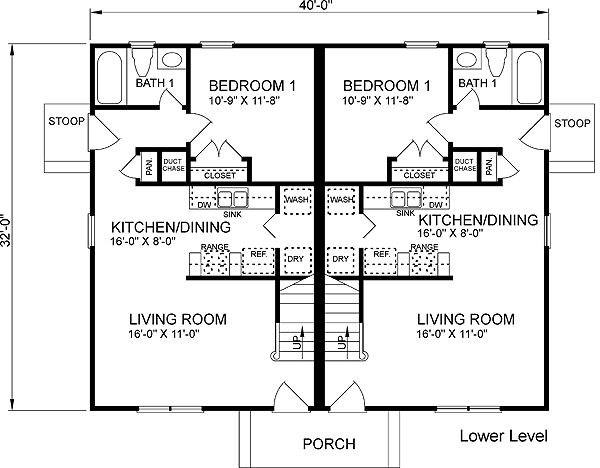 Colonial Multi Family Plan 45370 Best Roof Pitch And
