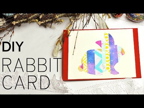 This bright and festive handmade greeting card with paper rabbit will become a pleasant Easter surprise! #rabbitcard #diygreetingcard #eastercard