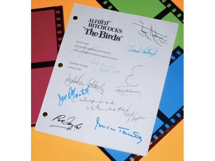 Alfred Hitchcock's The Birds Movie Script Signed: Alfred Hitchcock, Tippi Hedren, Rod Taylor, Suzanne Pleshette, Jessica Tandy & More