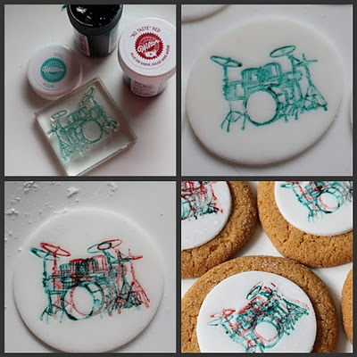 rubber stamps + food coloring = stamped fondant..