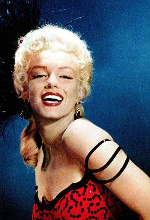 Marilyn Monroe in red and black.