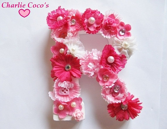 Custom Flower Name Letters for Girls Room by Charlie Coco's.