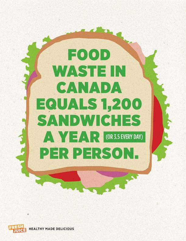 Food Waste in Canada Equals 1,200 Sandwiches A Year (Or 3.5 Every Day) Per Person.  #FJQuotables