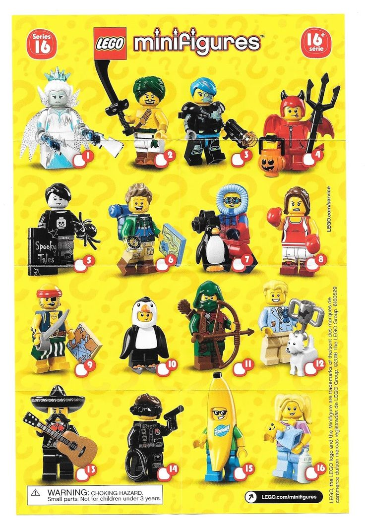 A visual guide and checklist for  Lego Blind  Pack  Minifigure Series' 1-15     .     From newest to oldest.   Updated 9/24/16   Note: I'v...