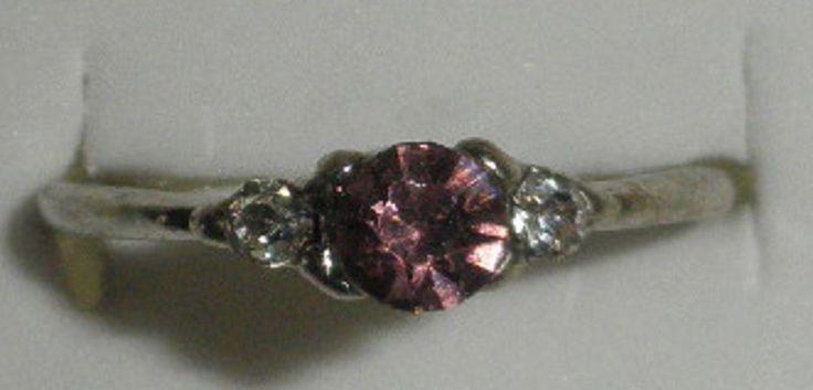 Bague femme métal argenté pierre strass rose diamant écrin T55 neuve écrin